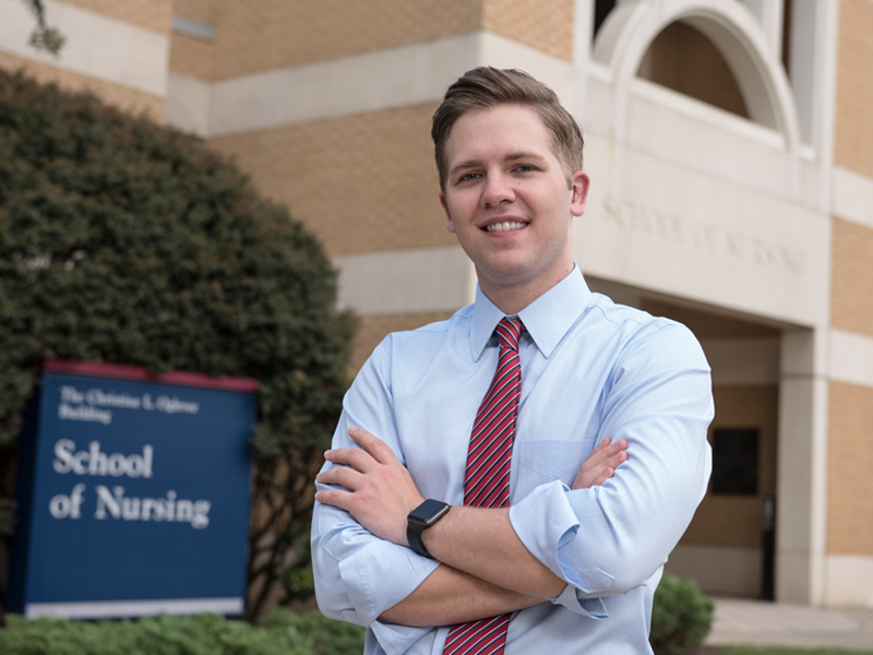 William Thomas, in his final year of the traditional BSN program in the School of Nursing, is the 2017-18 president of the Associated Student Body.