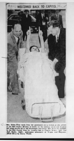 In this newspaper clipping from 1950, Rep. Zelma Price is shown arriving on a stretcher at the State Capiol, where she cast her history-making vote.