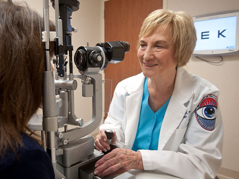 Dr. Connie McCaa, shown administering an eye exam in 2014, was a compassionate caregiver known for her generosity to, and advocacy for, her patients.