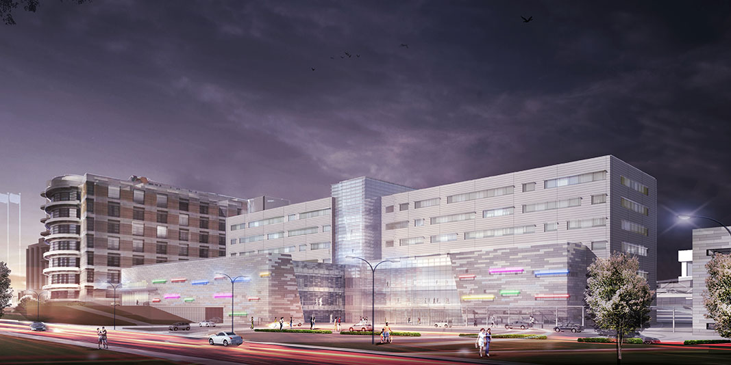 Artists night-time rendering of the new Children's of Mississippi tower being built adjacent to Batson Children's Hospital.