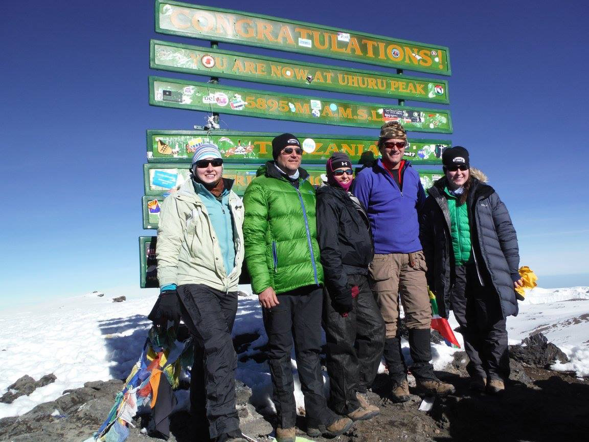 Having a career in dentistry gave Dr. Melinda Lucas the opportunity to make her dream trip to the top of Mount Kilimanjaro. From left are Carrie Gray Shaw, Randy Gray, Melinda Gray Lucas, Billy Gray and Meredith Lucas.