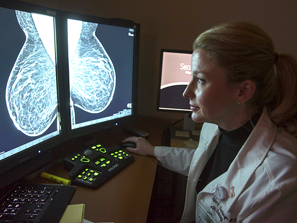 Dr. Susan Shamburger, assistant professor of radiology, reviews a mammography image.