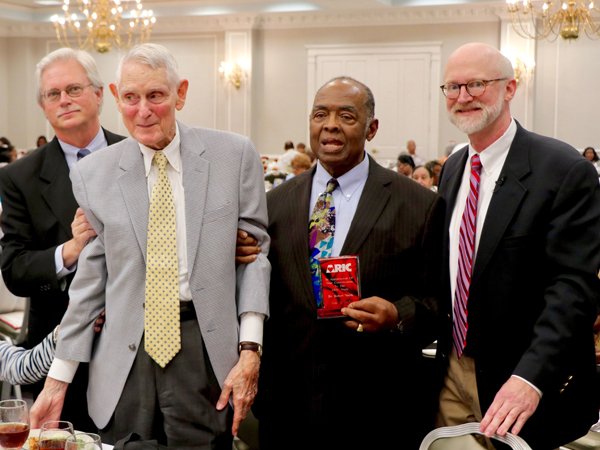 ARIC study and UMMC leaders attending the 30-year anniversary luncheon include, from left, Dr. Richard Summers, UMMC associate vice chancellor for research; Dr. Richard Hutchinson, original ARIC principal investigator; Dr. Robert Smith, ARIC investigator; and Dr. Tom Mosley, current ARIC PI and director of The MIND Center.