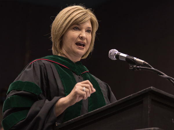 Dr. LouAnn Woodward, vice chancellor for health affairs and dean of the School of Medicine, addresses the Class of 2017.
