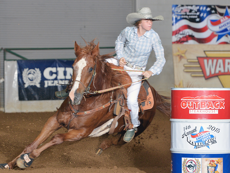 The late Carmen Smith of Louisville loved to compete in barrel racing and participated in the 2015 All-American Youth Barrel Race in Jackson. (Photo courtesy of Gina Smith.)