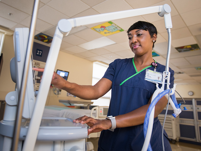 Alicia Thompson works in the Pediatric ICU.