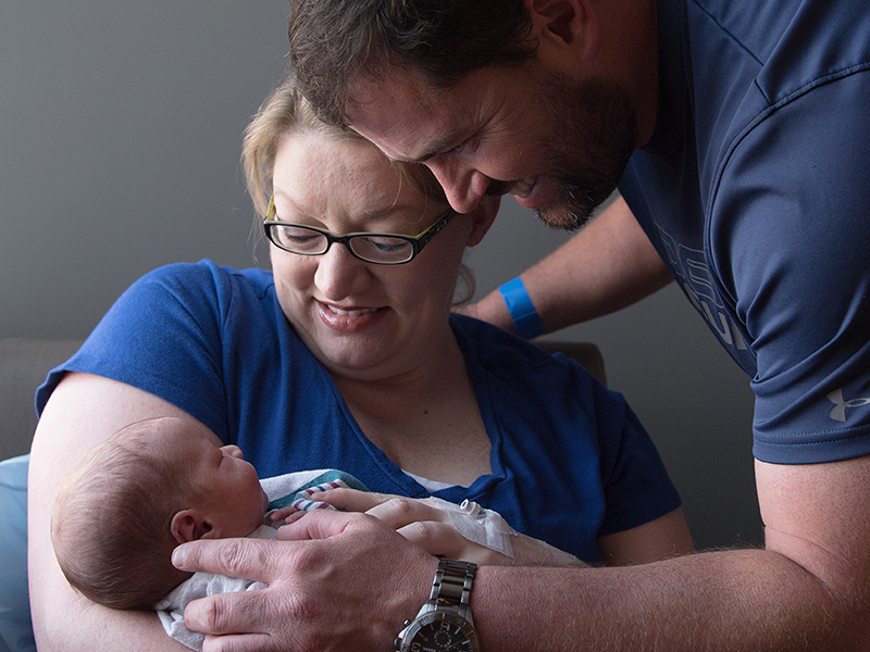 Joey and Amanda Vowell of Ackerman are spending precious moments getting to know their newborn son, Renner, at the Mother Baby Unit at UMMC's Wiser Hospital for Women and Infants.