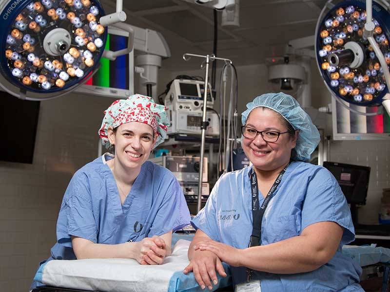 Dr. Hannah Copeland, left, and Dr. Felicitas Koller are the Medical Center's two newest transplant surgeons.