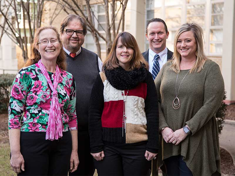 Some of the faculty and staff members who helped design the new preventive medicine residency program include, from left, Dr. Desiree Pendergrass,  Dr. Peter Pendergrass, Terri Jones, Dr. Joshua Mann and Brea Cole.
