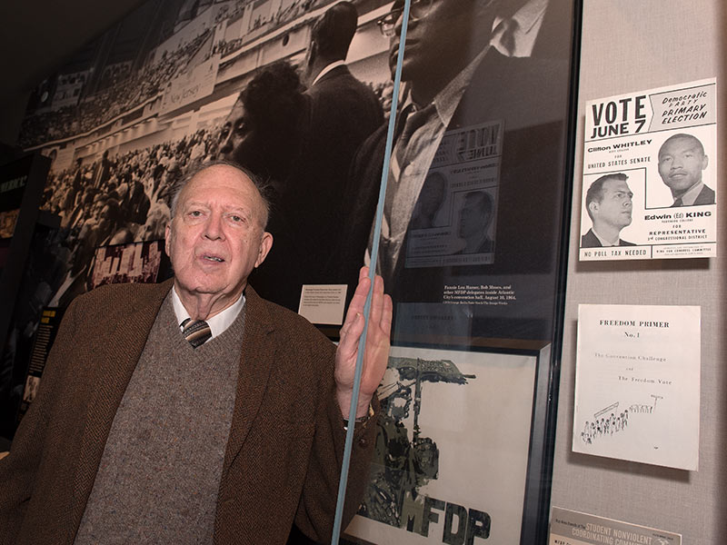 A display case, right, in the Mississippi Civil Rights Museum, holds a campaign poster from 1966, the year the Rev. Ed King ran against  John Bell Williams in the Mississippi Democratic primary for the position of Third District Congressman. On the poster, pictured above and to the right of King, is Ciifton Whitley, a U.S. Senate candidate. The text at the bottom left of the poster reads,