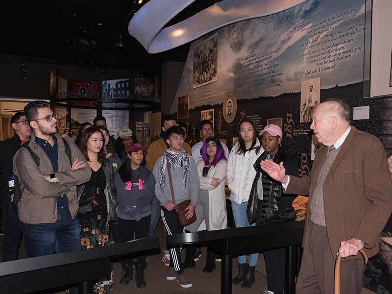 On a spur-of-the-moment invitation, King speaks to a group of Brown University students touring the Mississippi Civil Rights Museum.