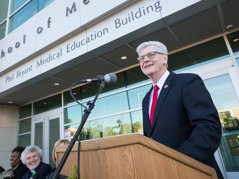 Gov. Phil Bryant addresses those gathered for the formal naming of the Phil Bryant Medical Education Building.