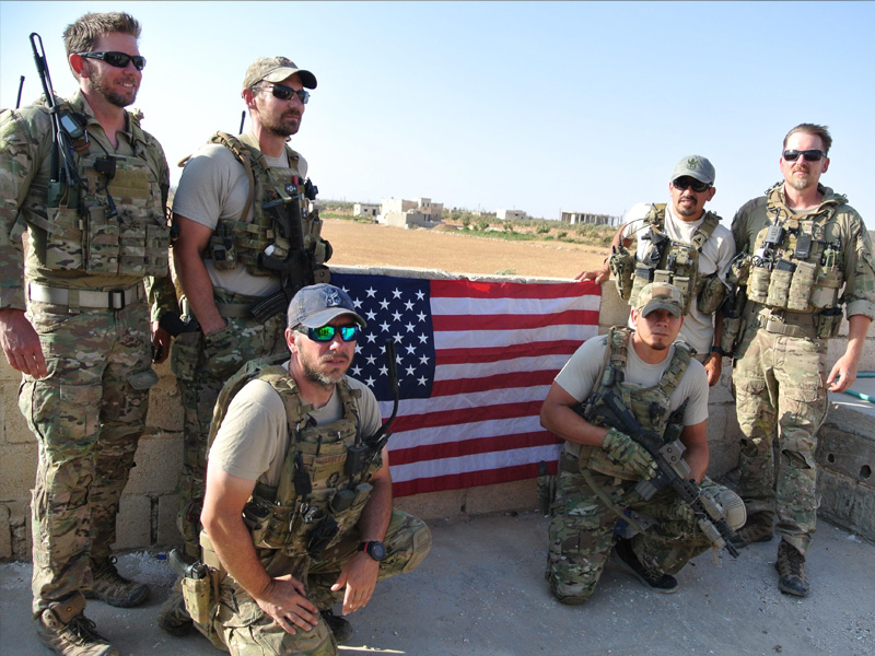 Maj. Justin Manley's team includes, kneeling from left, Manley and Tech. Sgt. Richard Holguin; and standing, from left, Lt. Col. Benjamin Mitchell, Capt. Cade Reedy, Maj. Nelson Pacheco and Lt. Col. Matthew Uber.