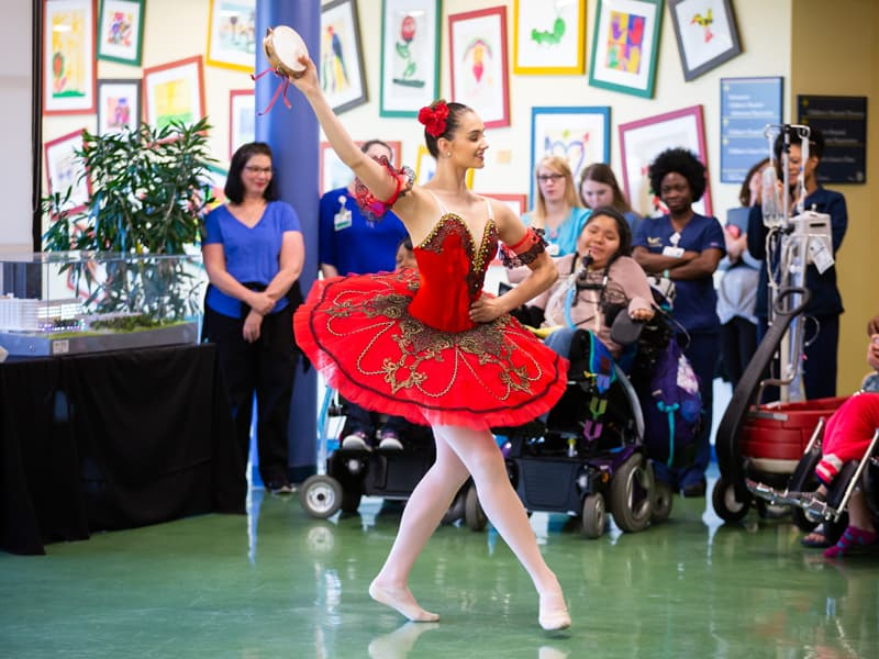 Mattie Grace Morris of Brandon performs for Batson Children's Hospital patients and staff. She was among Mississippi Metropolitan Ballet troupe members to give lessons to patients during a learning lab.