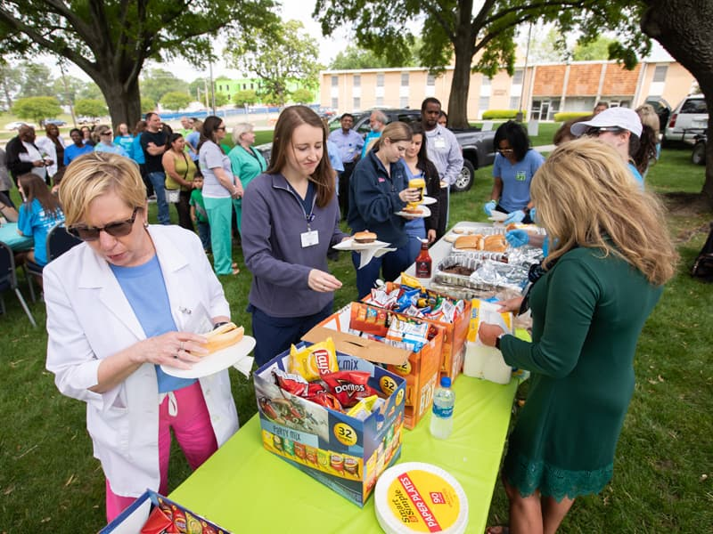 Burgers, dogs and chips awaited those taking part in the April 13 Legacy Lap on the UMMC campus.