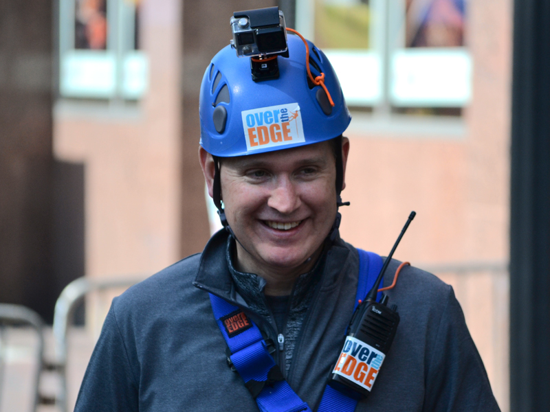 Children's of Mississippi CEO Guy Giesecke smiles after reaching terra firma,