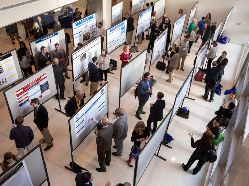 Poster presentations are arrayed in the medical education building for the SGEA conference attendees' viewing pleasure.