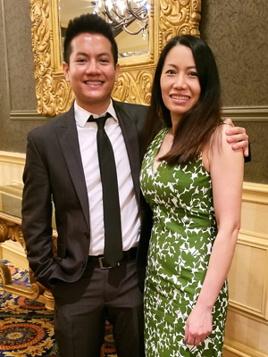Andrew Tran with his mother, Mary Duong, at the School of Dentistry Senior Honors Banquet.
