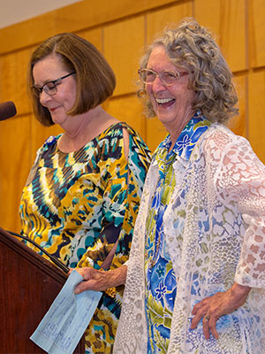 Martha Cooley, right, who retired from UMMC Grenada after more than six decades as a nurse, received UMMC's Lifetime Achievement Award in nursing. With her is Terri Gillespie, chief nursing executive officer.