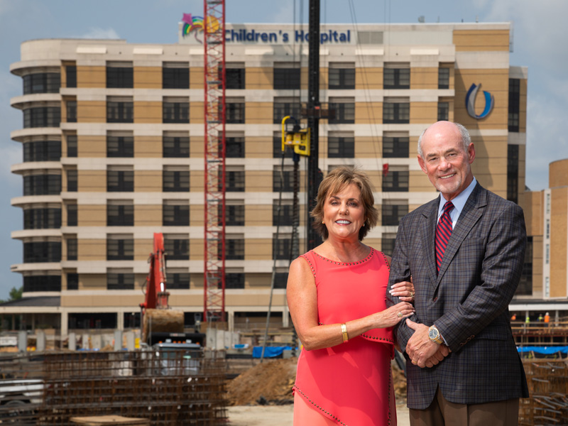 Lampkin and Susie Butts witness pediatric expansion construction for Children's of Mississippi.