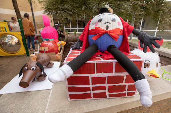 Humpty Dumpty was a pumpkin in this display, donated by Express Employment Professionals.