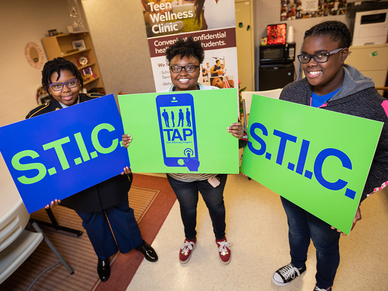 Lanier High School students, from left, Tatiana Myers-Arterberry, Shakell  James and