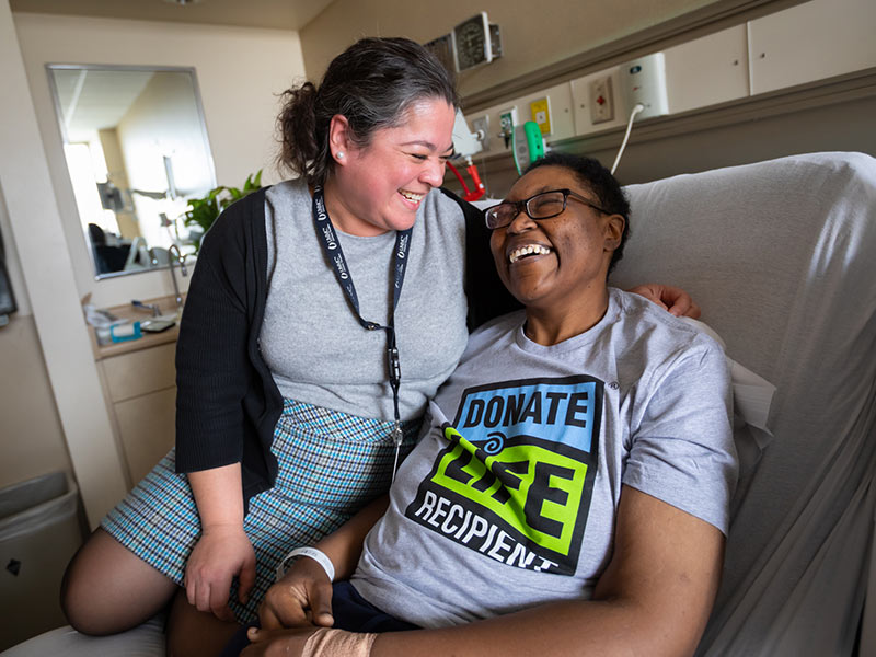 Dr. Felicitas Koller, left, and Kimberly Cooley are fast friends following Cooley's liver transplant.