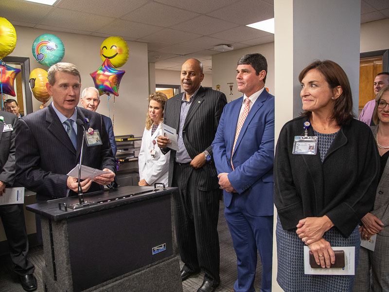 Children's of Mississippi CEO Guy Giesecke speaks to attendees at a ribbon-cutting ceremony at the new Meridian specialty clinic