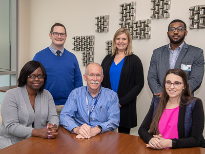 The Be-HIP team includes, seated from left, Natalie Stuckey, Dr. Robert Annett, Amanda Cox, and, standing, Dr. Dustin Sarver, Ann Skelton and Christopher Clark.