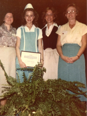 Vicki Randle Bee is shown accepting Nursing Student of the Year honors in 1980.