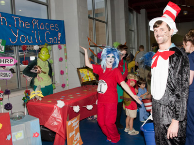 Meyer, dressed the Cat in the Hat, with fellow SGSHS students at their Dr. Seuss-inspired booth for UMMC's annual Spooky U event in Ocotber 2016.