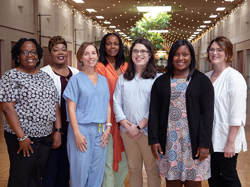 The research team for the MWCCS will include from left to right: Michelene Brock, research specialist; Tina Barnes, research/outreach specialist; Dr. Sharon McElwain, assistant professor of nursing; Venetra McKinney, clinical research coordinator; Dr. Jemma Cook, postdoctoral research fellow; Crystal Thomas, research outreach specialist; and Dr. Kayla Carr, assistant professor of nursing.