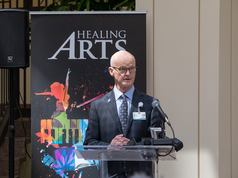 "Dr. Charles O'Mara, associate vice chancellor for clinical affairs, describes UMMC's new Healing Arts program, dedicated Tuesday as ""Franny's Hour"" in tribute to Frances Anne Fortner, who passed away May 17, 2018, at the age of 18."
