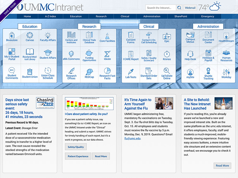 Screenshot of UMMC's new intranet