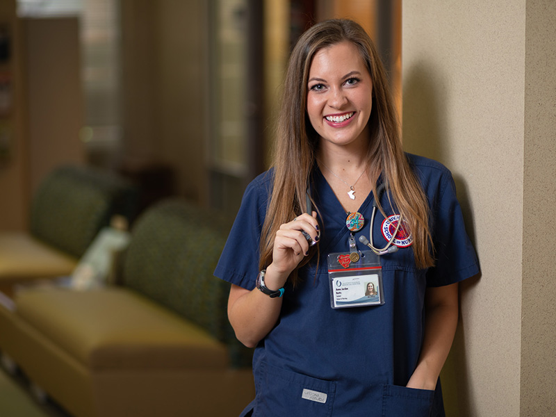 School of Nursing student Anna Jordan Butts dons the Peru necklace she got while on her first trip in 2013 every day.