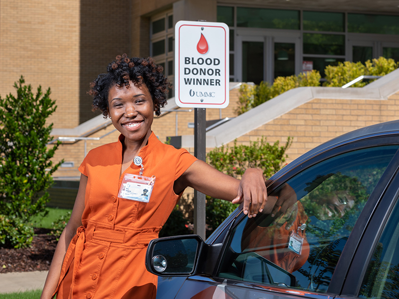 As the most recent quarterly winner of a campus parking space for participating in the Medical Center's blood drive, Mary E. Thompson says she enjoys getting to park near the vice chancellor.