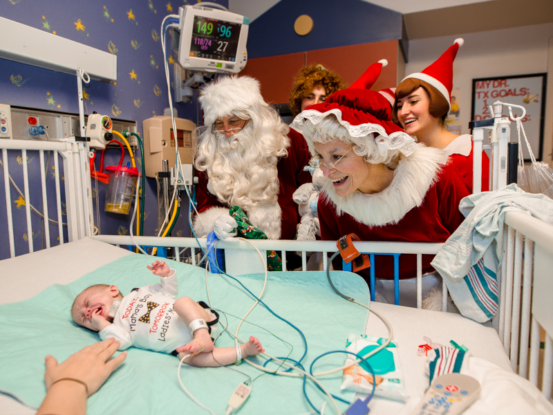 Children's of Mississippi patient Silas McKinney of Collinsville was surprised by his Christmas visitors.