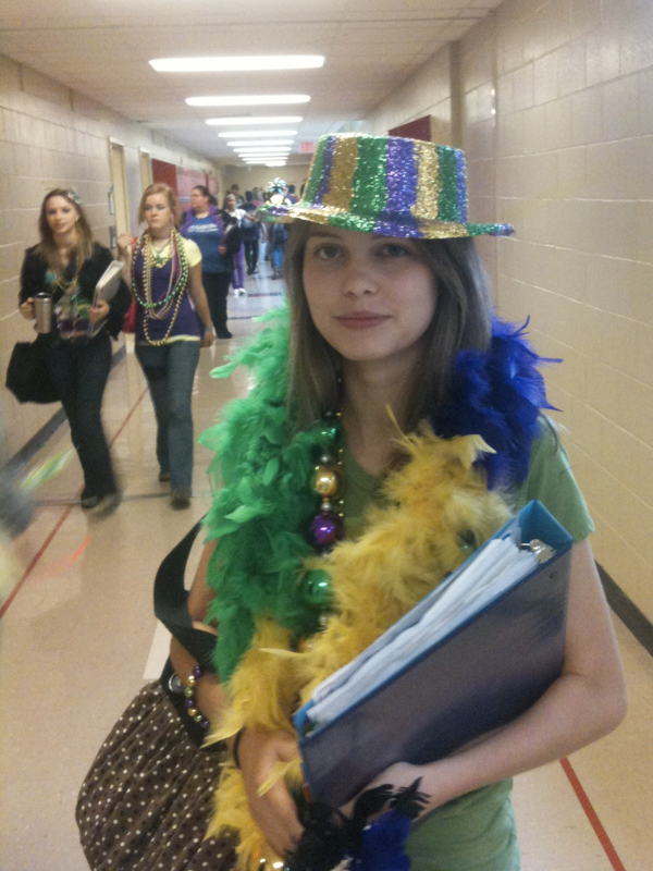 In this photo taken several years ago, Lexi Griffith roams the corridors of Florence High School as an 11th grader in Mardi Gras mode.