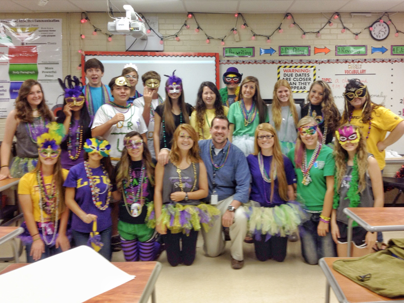 Patrick O'Brien, center, front row, celebrates Homecoming at Florence High School with his students in 2013.