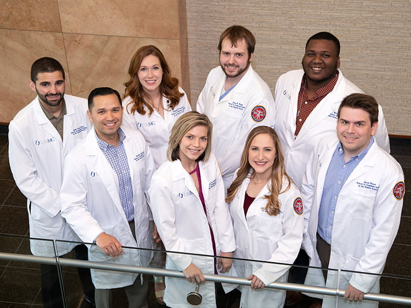 Students in UMMC's M.D./Ph.D. Program include, front row from left, Ezekiel Gonzalez-Fernandez, Shelley Edwards, Meredith Cobb and Jacob Pruett, and back row from left, Talal Younes, Hannah Turbeville, Jason Engel and Jamarius Waller.