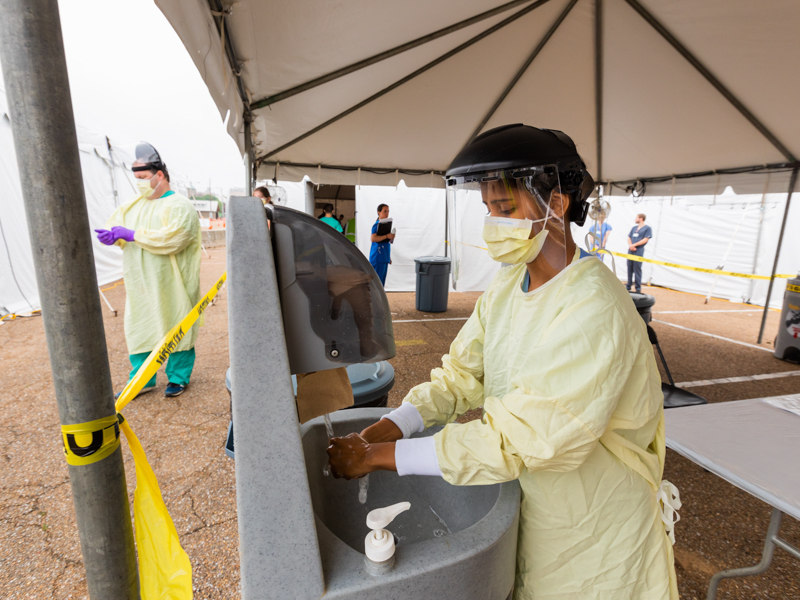 Ambika Srivastava, D4. a COVID-19 student response team leader, dons full PPE last week while at the fairgrounds testing site.