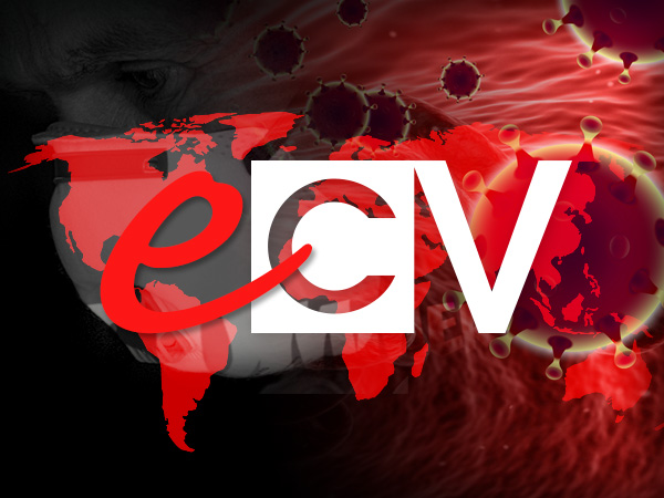 eCV logo with red flat map of the world, COVID-19 virus image in red and a screened image of man with face mask