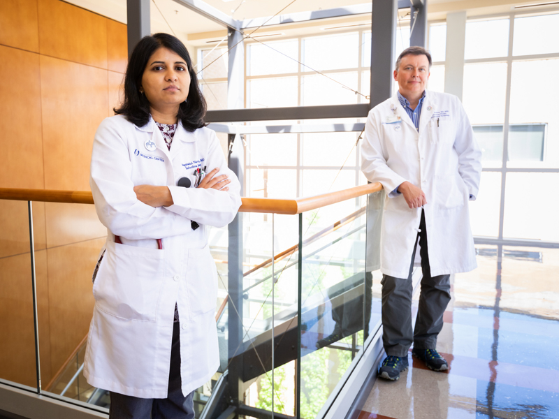 Helping to lead the charge on COVID-19 treatment and infection control are Dr. Bhagyashri Navalkele, medical director of infection prevention and control, and Dr. Jason Parham, director of the Division of Infectious Diseases,