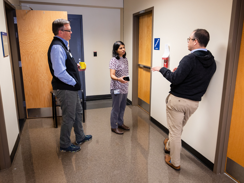 From left, Dr. Jason Parham, Dr. Bhagyashri Navalkele and Dr. Jose Lucar Lloveras are instrumental in the Division of Infectious Diseases' management of in-house COVID-19 testing at the University of Mississippi Medical Center.