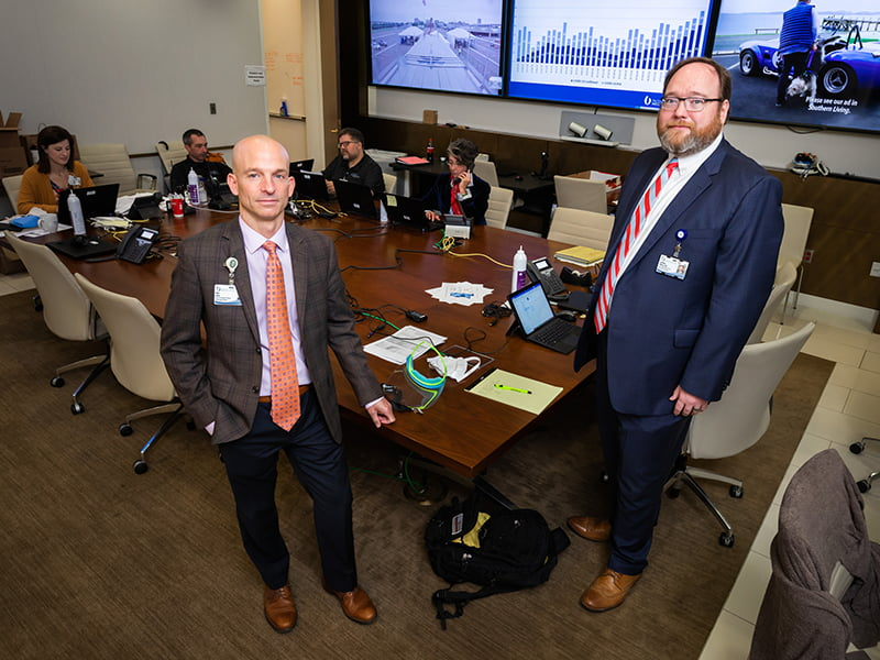 Dr. Alan Jones, left, the Medical Center's clinical response leader, and Dr. Jonathan Wilson, incident manager, are key leaders in UMMC's COVID-19 response.