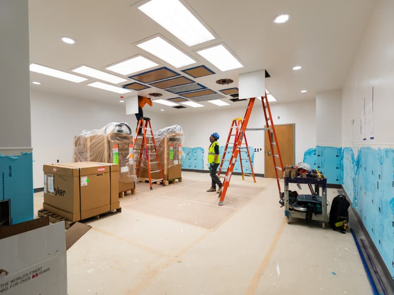 Workers are putting the finishing touches on the children's hospital expansion, which is on schedule to open this fall.