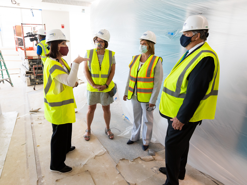 Dr. Mary Taylor, left, and Dr. LouAnn Woodward, second from right, UMMC vice chancellor for health affairs, discuss the children's hospital expansion with Jerry Host, Trustmark chairman and CEO, and his wife, Olivia.