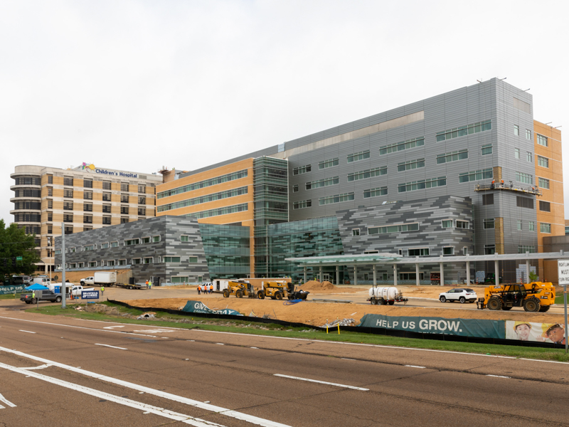 Crews finish their work on the seven-story Kathy and Joe Sanderson Tower at Children's of Mississippi.