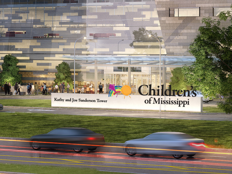 The Kathy and Joe Sanderson Tower at Children's of Mississippi is shown in this architectural rendering.