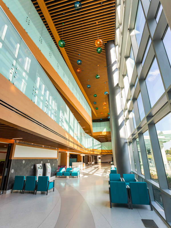 The spacious lobby of the Kathy and Joe Sanderson Tower will be open to patients and their families next month.